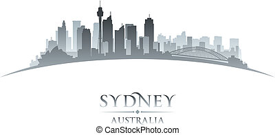 Sydney Australia city skyline silhouette white background -...