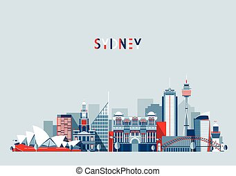 Sydney Australia City Skyline Vector Background