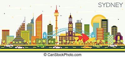 Sydney Australia City Skyline with Color Buildings and Blue Sky.