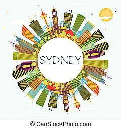 Sydney Australia City Skyline with Color Buildings, Blue Sky and Copy Space.