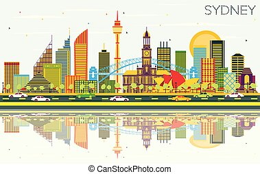 Sydney Australia City Skyline with Color Buildings, Blue Sky and Reflections.