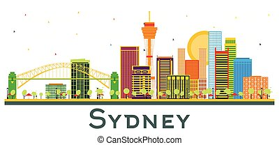 Sydney Australia City Skyline with Color Buildings Isolated on White.