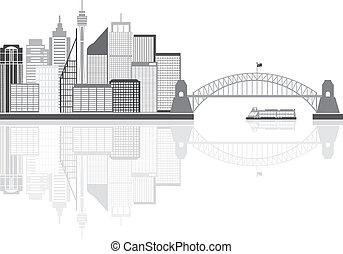 sydney, australia, contorno, grayscale, ilustración
