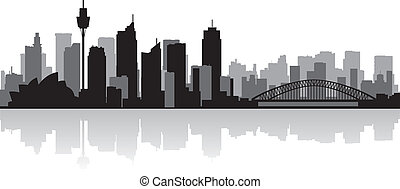 sydney, australia, miasto skyline, wektor, sylwetka