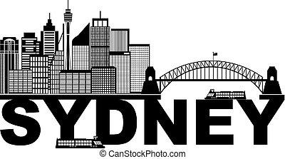 Sydney Australia Sklyine Text Outline Black and White Illustration