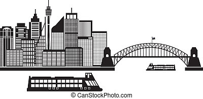 Sydney Australia Skyline Black and White Illustration -...