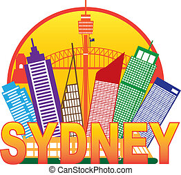 Sydney Australia Skyline Circle Color Illustration - Sydney...