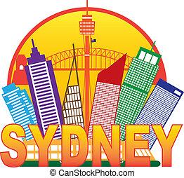 Sydney Australia Skyline Circle Color Illustration