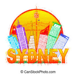 Sydney Australia Skyline Circle Color Impressionist...