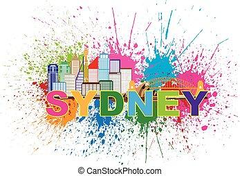 Sydney Australia Skyline Colorful Abstract Illustration