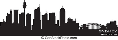 sydney, australia, skyline., detallado, vector, silueta