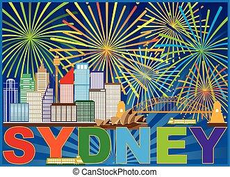 Sydney Australia Skyline Fireworks Illustration