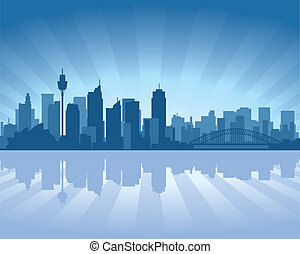 Sydney, Australia skyline illustration with reflection in...