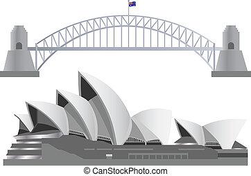 Sydney Australia Skyline Landmarks Harbour Bridge and Opera...