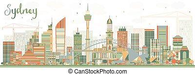 Sydney Australia Skyline with Color Buildings.