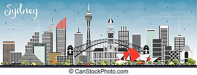Sydney Australia Skyline with Gray Buildings and Blue Sky.