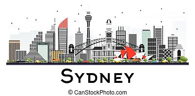 Sydney Australia Skyline with Gray Buildings Isolated on White Background.
