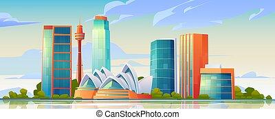 Sydney, Australia skyline with Opera house banner
