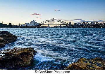 sydney, australie, -, décembre, 29, 2014, :, opéra, et, pont port