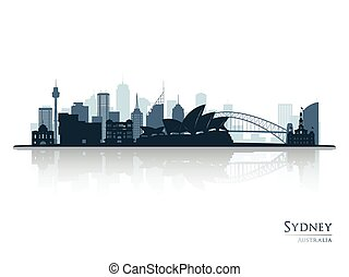 Sydney blue skyline silhouette with reflection.