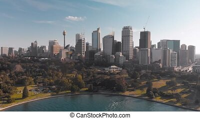 Sydney CBD aerial skyline from drone flying in Sydney Harbour, Australia