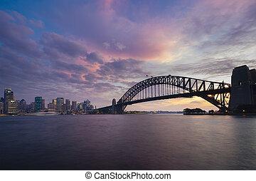 Sydney CBD and Harbour Bridge at sunset