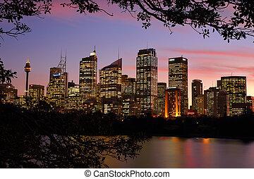 Sydney CBD cityscape buildings at sunset