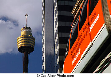 Sydney CBD detail - sydney tower and red monorail, detail...