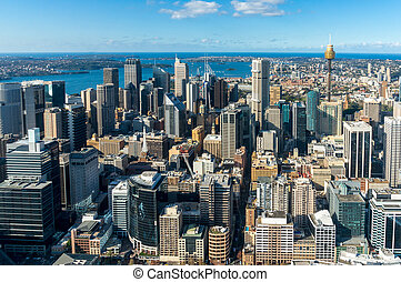 Sydney Central business district from the air - Sydney city...