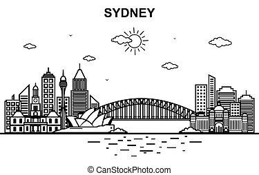 Sydney City Australia Cityscape Skyline Line Outline Illustration