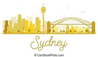 Sydney City skyline golden silhouette.