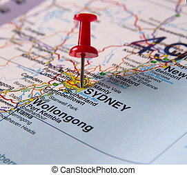 Sydney in Australia in the map