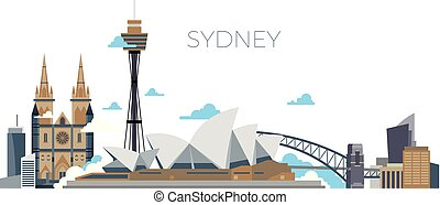 Sydney city vector panorama. Australia travel landmark in flat style