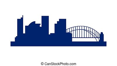 sydney cityscape with bridge silhouette icon