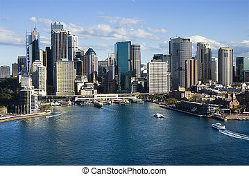 Sydney Cove, Australia. - Aerial view of skyscrapers and...