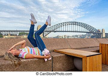 sydney, feliz, muelle circular, turista, australia