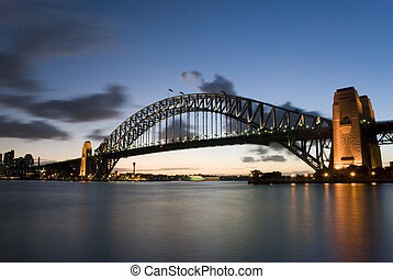 Sydney Harbour Bridge At Dusk, Night, Sydney, NSW, new south...