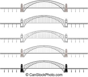 Sydney Harbour Bridge colored and outline only