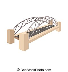 Sydney Harbour Bridge icon, cartoon style