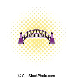 Sydney Harbour Bridge icon, comics style