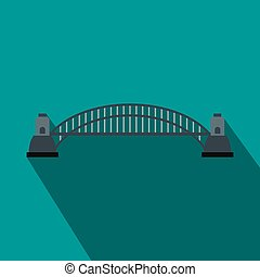Sydney Harbour Bridge icon, flat style