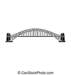 Sydney Harbour Bridge icon in black style isolated on white background. Australia symbol stock vector illustration.