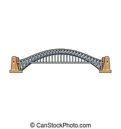 Sydney Harbour Bridge icon in cartoon style isolated on white background. Australia symbol stock vector illustration.
