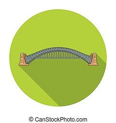 Sydney Harbour Bridge icon in flat style isolated on white background. Australia symbol stock vector illustration.