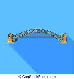 Sydney Harbour Bridge icon in flat style isolated on white background.
