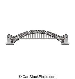 Sydney Harbour Bridge icon in monochrome style isolated on white background. Australia symbol stock vector illustration.
