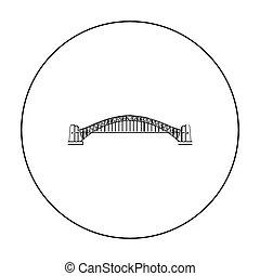 Sydney Harbour Bridge icon in outline style isolated on white background. Australia symbol stock vector illustration.