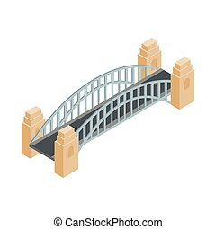 Sydney Harbour Bridge icon, isometric 3d style