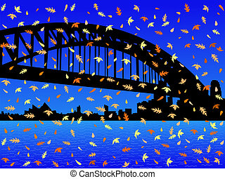 Sydney harbour bridge in autumn - Sydney harbour bridge and...