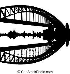Sydney Harbour Bridge reflected with ripples silhouette
